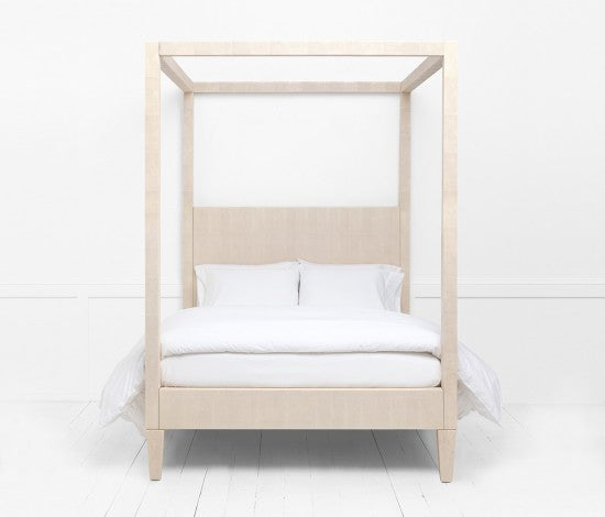 Sorin King Canopy Bed in White Faux Shagreen