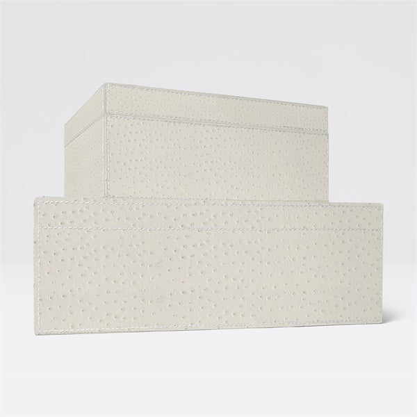 ZSA ZSA Box Set in Cream Ostrich Full-Grain Leather