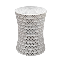 Oly Pipa Side Table in Perforated Resin White