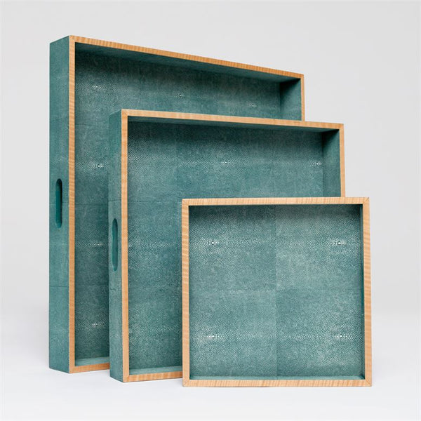 Amina Faux Shagreen Set of 3 Trays