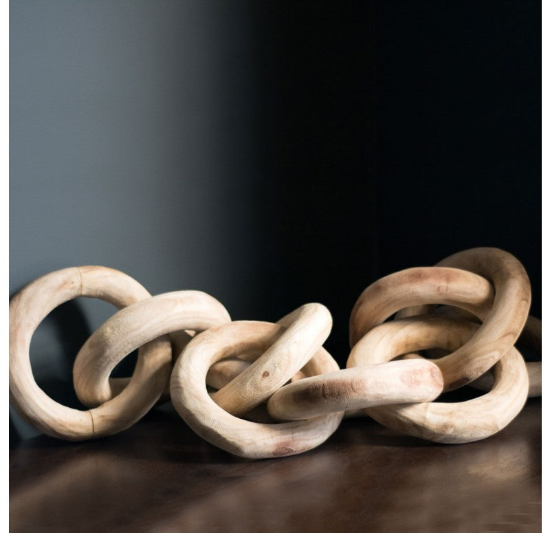 Wood Chain Link Decor Sculpture