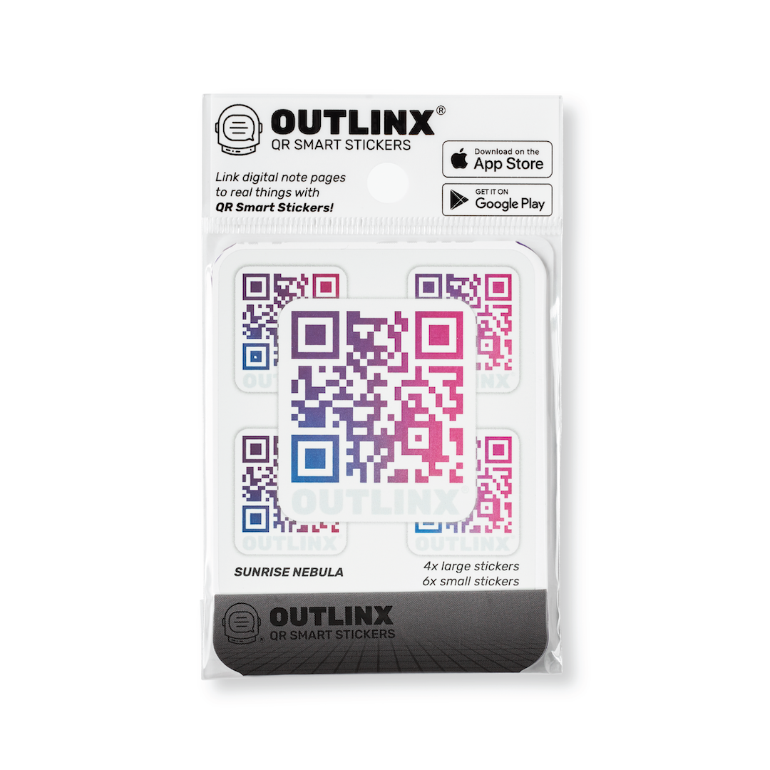 Outlinx Sunrise Nebula QR Smart Sticker Pack, 10 stickers