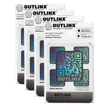 Outlinx Space Beetle QR Smart Stickers, Bundle of 4 Packs, 40 stickers
