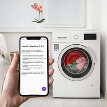 outlinx the original qr smart label on laundry machine