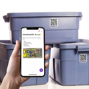 outlinx the original qr smart sticker on storage container