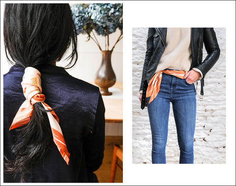 Autumn Style Silk Scarf Hair Accessory Ponytail Belt Jeans