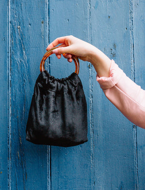 Lio Mara Black Mini Velvet Bag