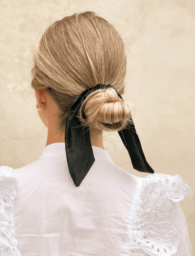 Lio Mara Black Silk Velvet Hair Tie For Hair Bun