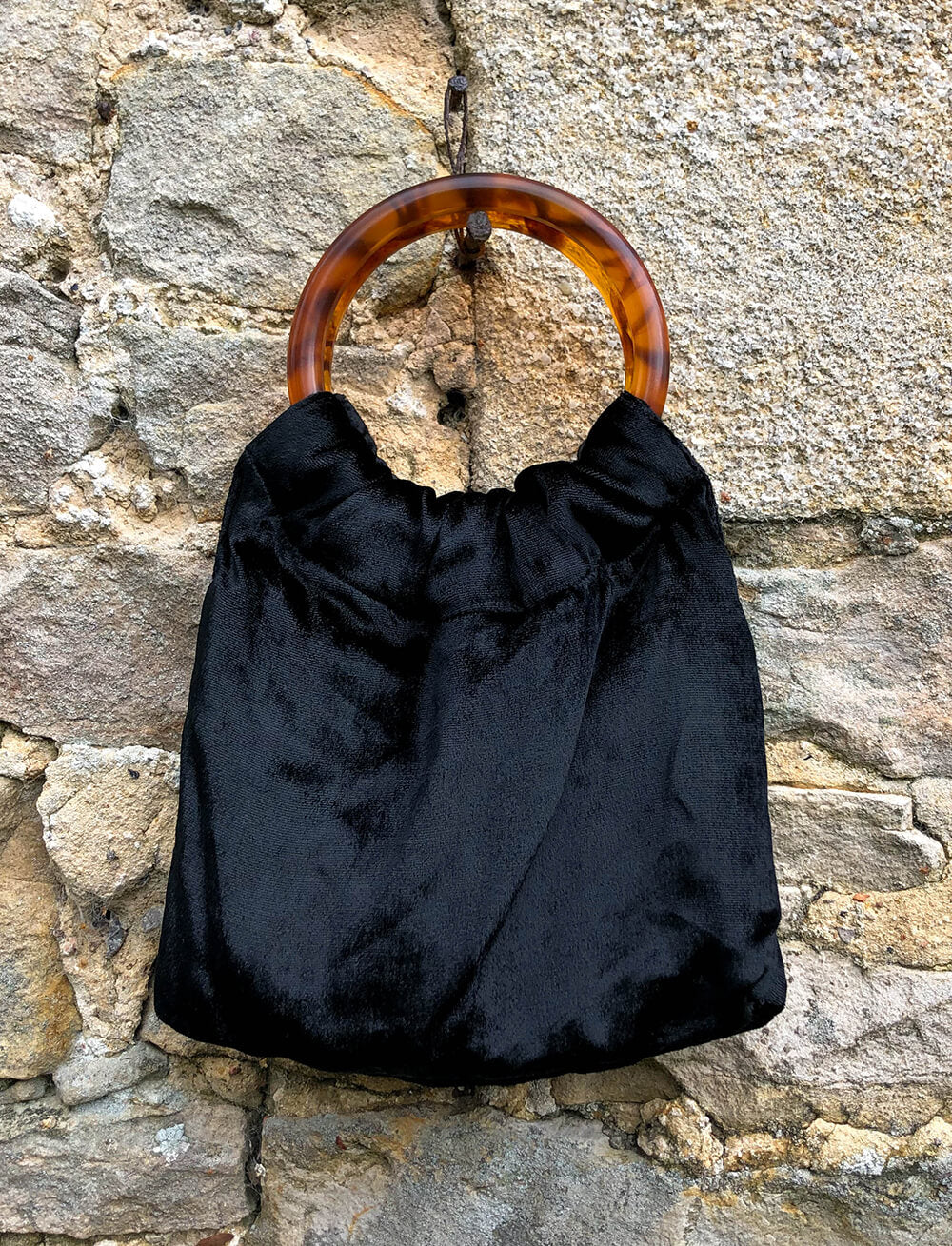 Lio Mara Black Silk Velvet Mini Bag With Tortoiseshell Handles