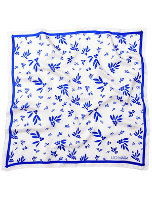 Lio Mara Blue Floral Silk Scarf UK