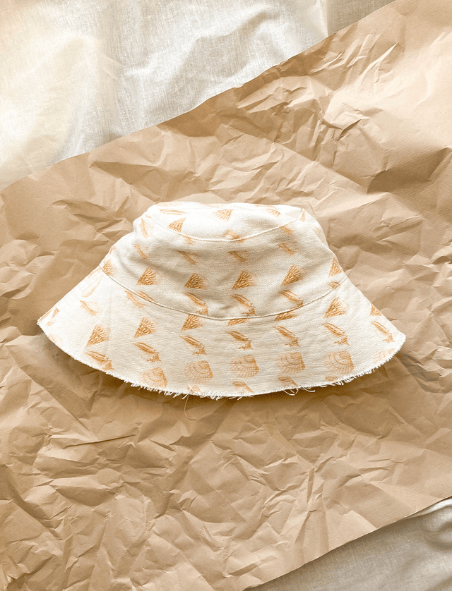 Lio Mara Golden Shell Linen Bucket Hat For Summer Festivals
