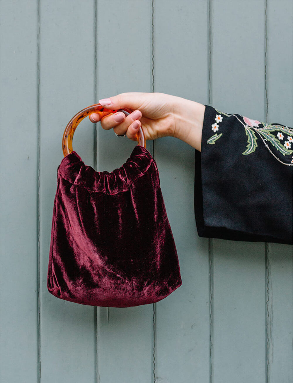 Lio Mara Maroon Red Mini Velvet Bag