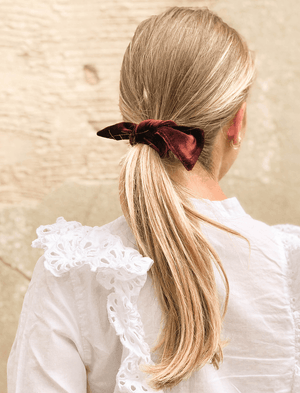 Lio Mara Maroon Silk Velvet Hair Bow For Ponytail And Hair Bun