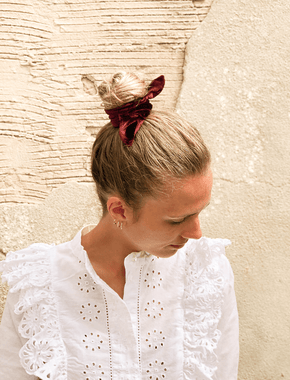 Lio Mara Maroon Silk Velvet Hair Tie Bow For Topknot Hair Bun
