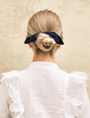 Lio Mara Navy Blue Silk Velvet Hair Tie Bow For Hair Bun Topknot