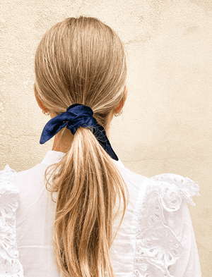 Lio Mara Navy Blue Silk Velvet Hair Tie Bow For Ponytail