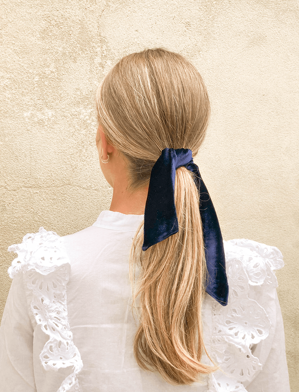 Lio Mara Navy Blue Silk Velvet Hair Tie For Ponytail