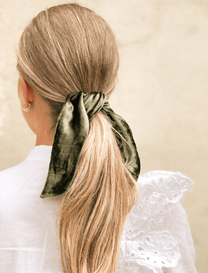 Lio Mara Olive Green Silk Velvet Hair Tie For Ponytail