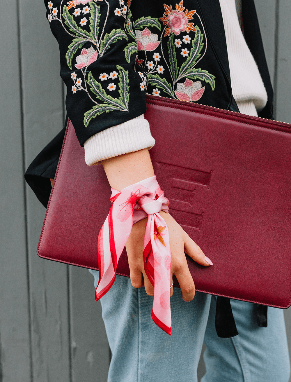Lio Mara Pink Blossom Floral Silk Tencel Sustainable Scarf UK Tied Round Wrist With London Velvet Leather Laptop Case