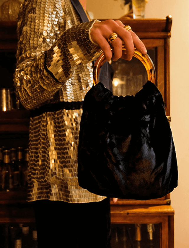 Lio Mara Silk Velvet Mini Bag Black For Special Occassion