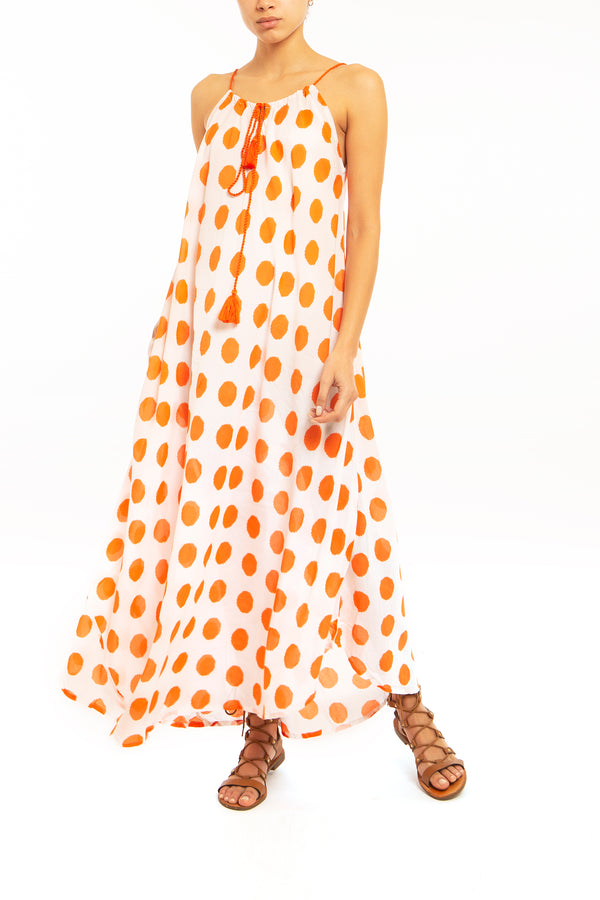 sundress, one size fits all, adjustable straps, orange polkadot