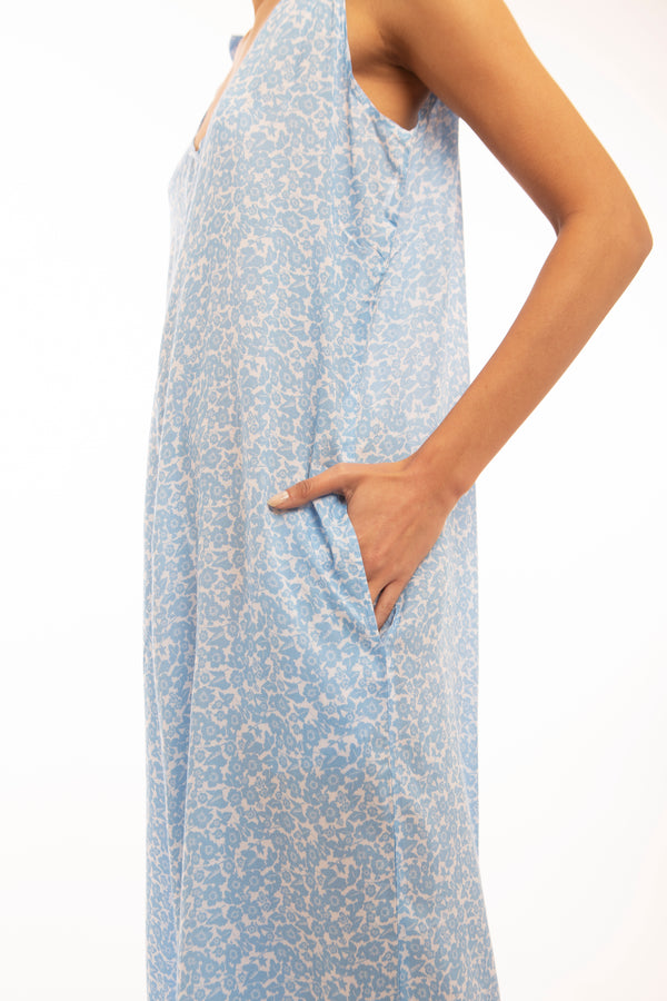 Wide Leg Palazzo Jumpsuit, light blue ditsy