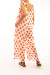 Wide Leg Palazzo Jumpsuit, orange polkadot