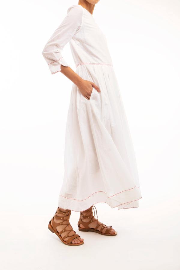 white voile 3/4 length round neck dress