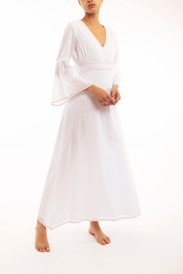 White Voile Floaty Full Length Dress, red stitching