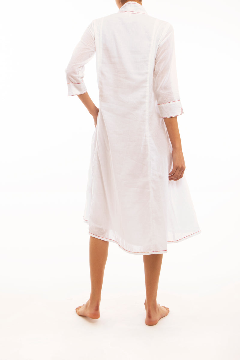 White Voile Easy Summer Dress, red stitching