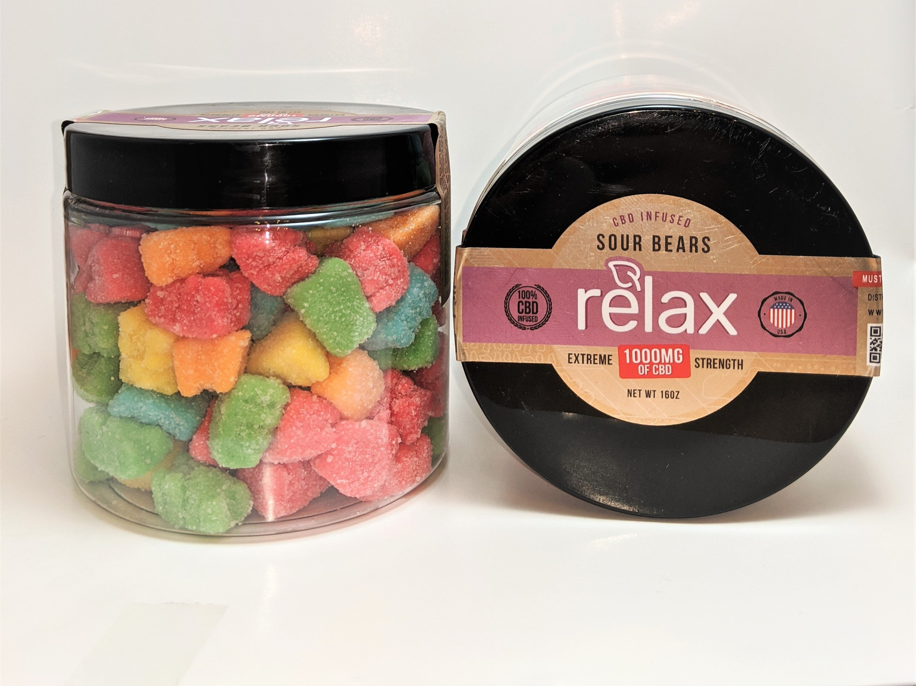 Broad Spectrum Relax 1000 mg Sour Gummy Bears - CBD Central