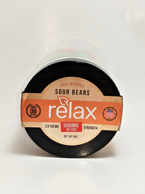 Relax 500 mg Sour Gummy Bears - CBD Central