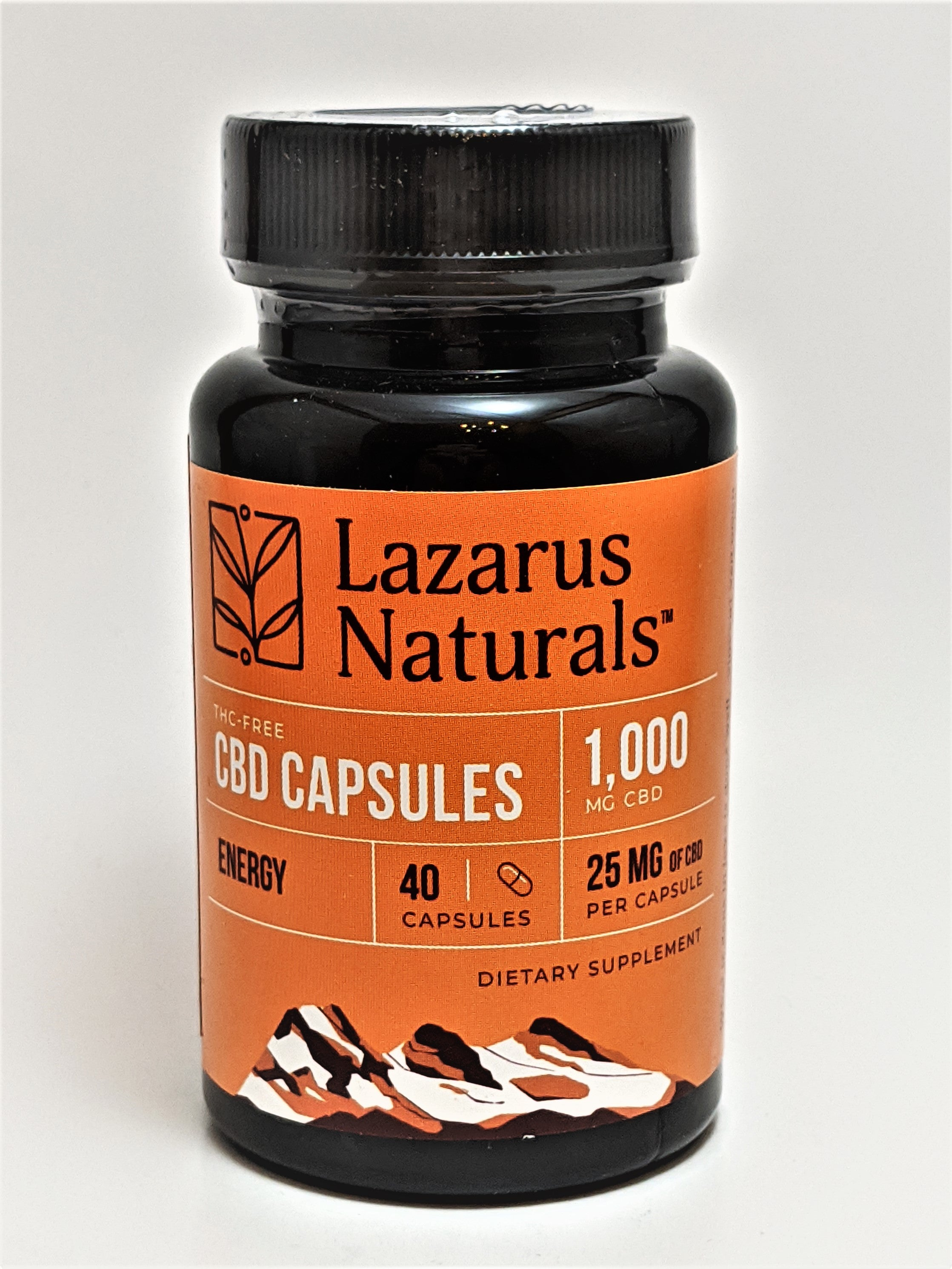 Lazarus Energy Blend 25mg CBD Isolate Capsules, 40 Count Bottle (1,000 mg CBD) - CBD Central