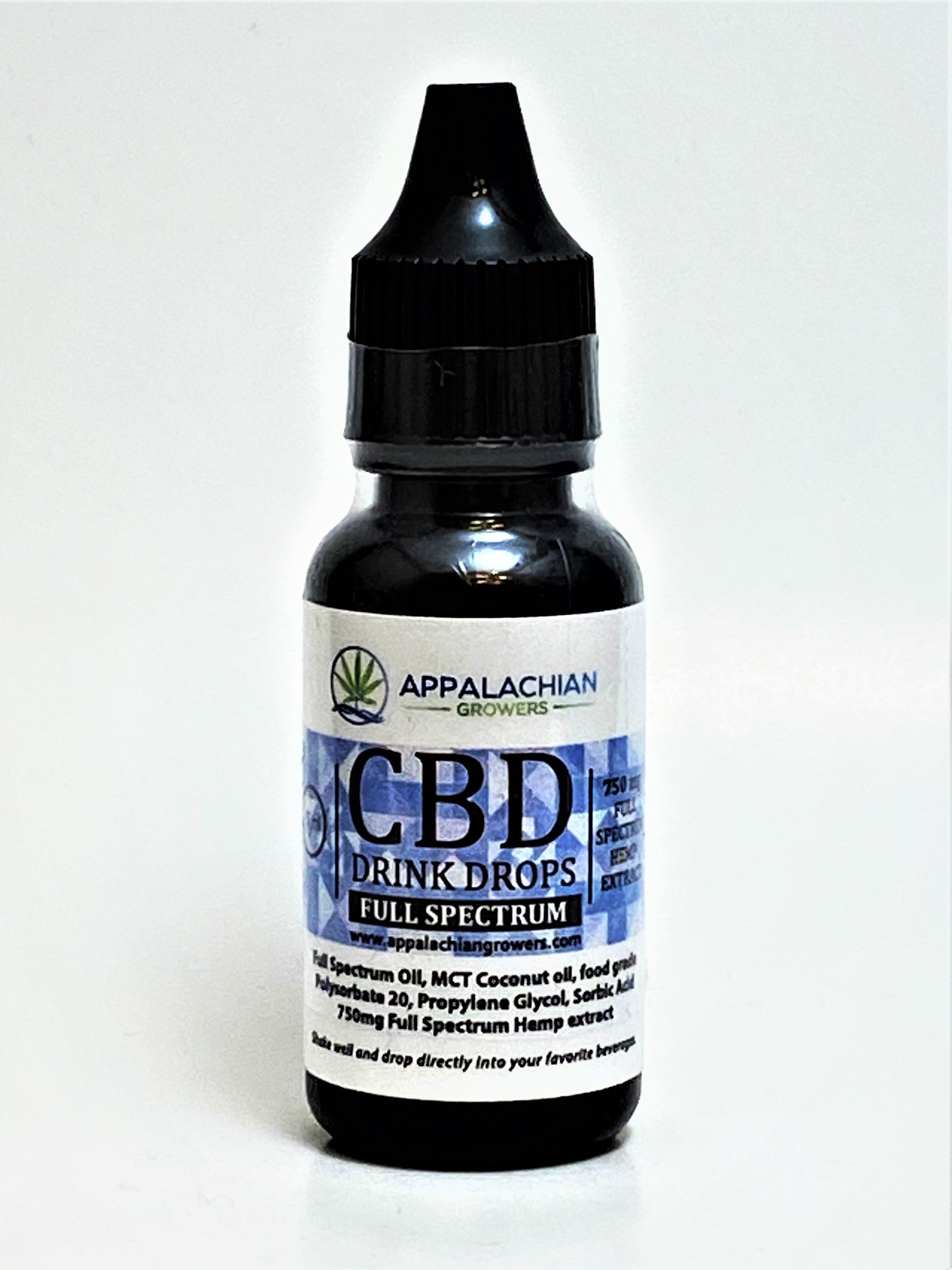 Appalachian Growers Water Soluble Drink Drops 750 mg Full Spectrum