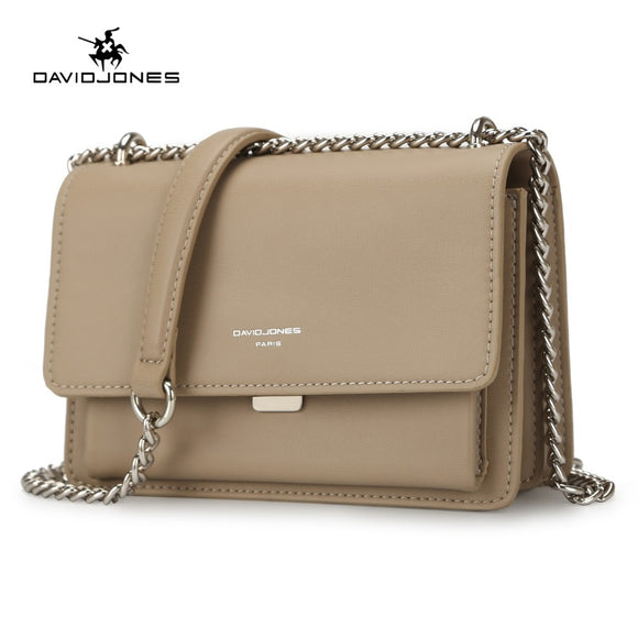 DAVIDJONES women handbag faux leather female crossbody bags small lady chain shoulder bag girl brand messenger bag drop shipping