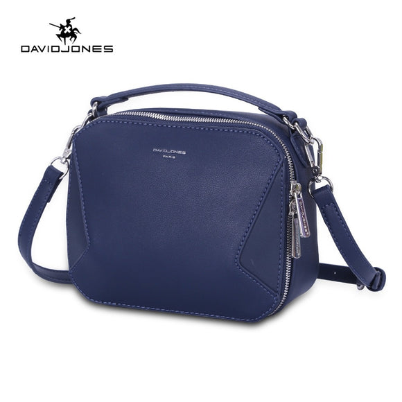 DAVIDJONES women shoulder bags faux leather female messenger bags small lady patchwork handbag girl  crossbody bag drop shipping