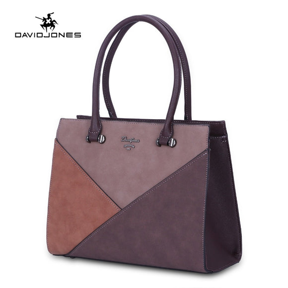 DAVIDJONES women handbag faux leather female shoulder bags large lady patchwork tote bag girl brand messenger bag drop shipping