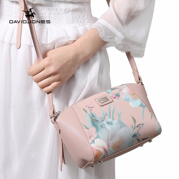 DAVIDJONES women crossbody bags pu leather female shoulder bags smart lady print handbag girl brand messenger bag drop shipping