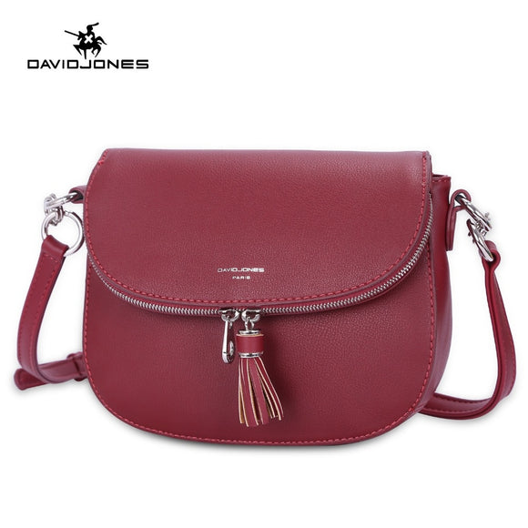 DAVIDJONES women messenger bags faux leather female shoulder bags small lady tassel handbag  brand crossbody bag drop shipping