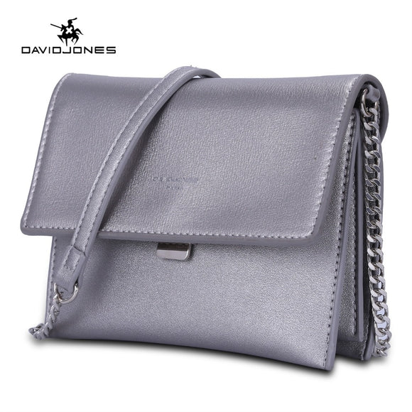 DAVIDJONES women messenger bags faux leather female handbag small lady chain shoulder bag girl brand crossbody bag drop shipping