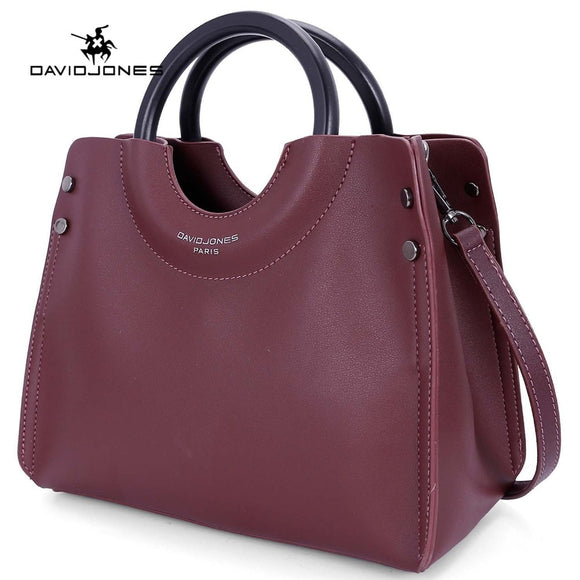 DAVIDJONES women handbag faux leather female shoulder bag large lady solid top handle bag girl brand crossbody bag drop shipping
