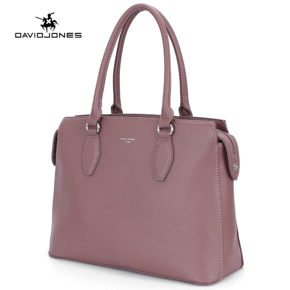 DAVIDJONES women tote bags faux leather female shoulder bags large lady solid handbag girl brand messenger bag free shipping