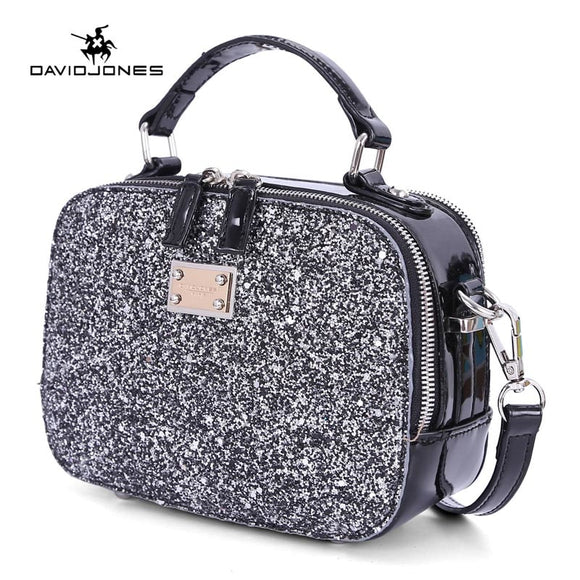DAVIDJONES women handbag pu leather female handbag mini lady sequin evening shoulder bag girl brand crossbody bag drop shipping