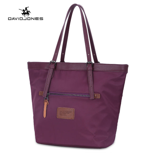 DAVIDJONES women handbag nylon female shoulder bags big lady waterproof shopping bag girl brand tote top handle drop shipping