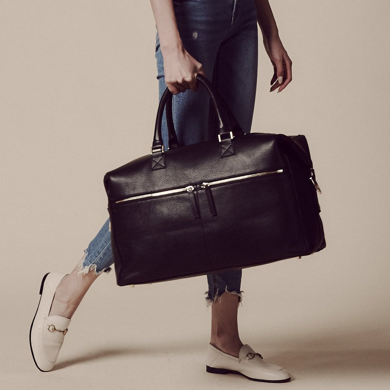 Hudson Italian Leather Weekender in Black