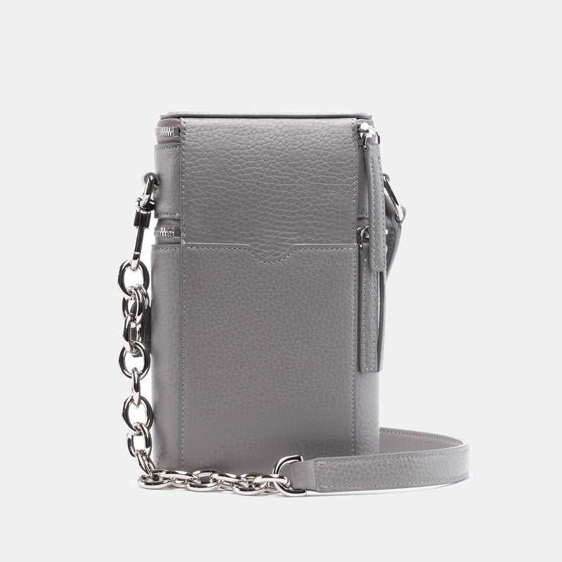 Veda Double Zipper Italian Leather Crossbody in Storm