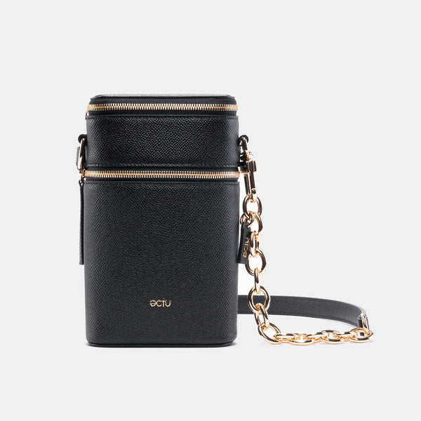 Veda Double Zipper Italian Leather Crossbody in Black