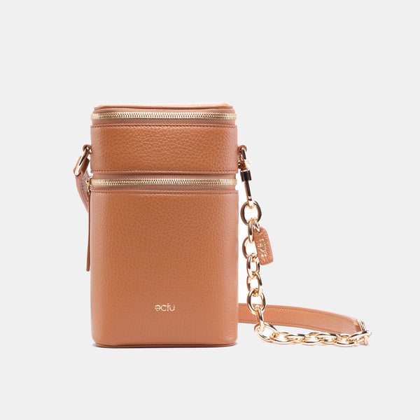Veda Double Zipper Italian Leather Crossbody in Camel