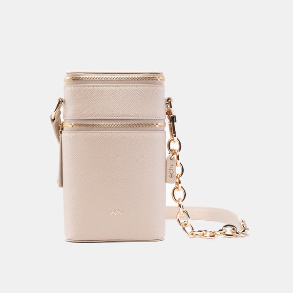 Veda Double Zipper Italian Leather Crossbody in Sand