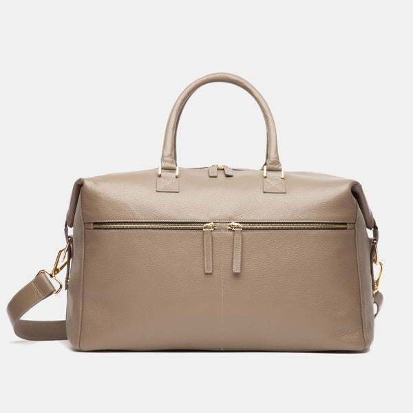 Hudson Italian Leather Weekender In Taupe